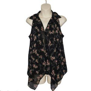 GUESS floral sheer button down blouse small